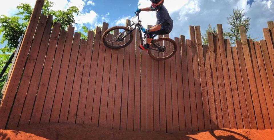 A mountain biker getting air time in Knoxville.