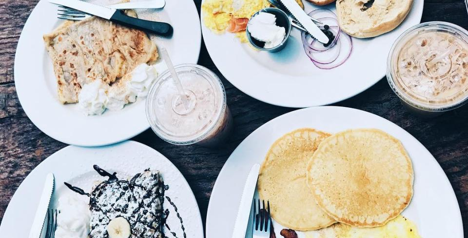 A large breakfast of crepes, pancakes and bagles at The Coffeehouse at Second and Bridge