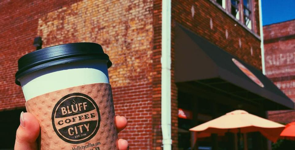 A coffee to-go from Bluff City Coffee