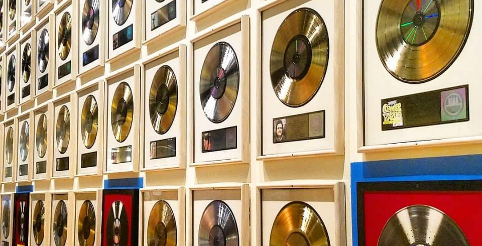 Records on the wall at Country Music Hall of Fame and Museum in Nashville TN