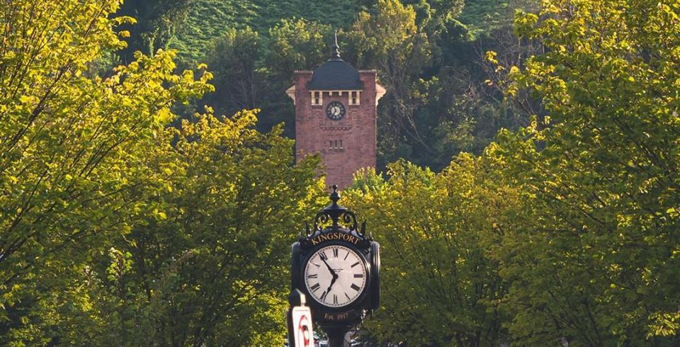 A view of the clock tower in downtown Kingsport, TN