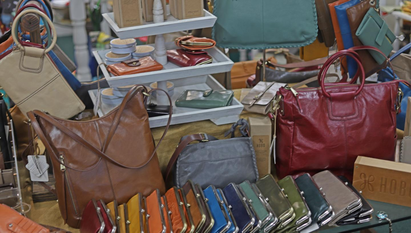 Handbags on display at Ivy Gate in Trenton, Tennessee