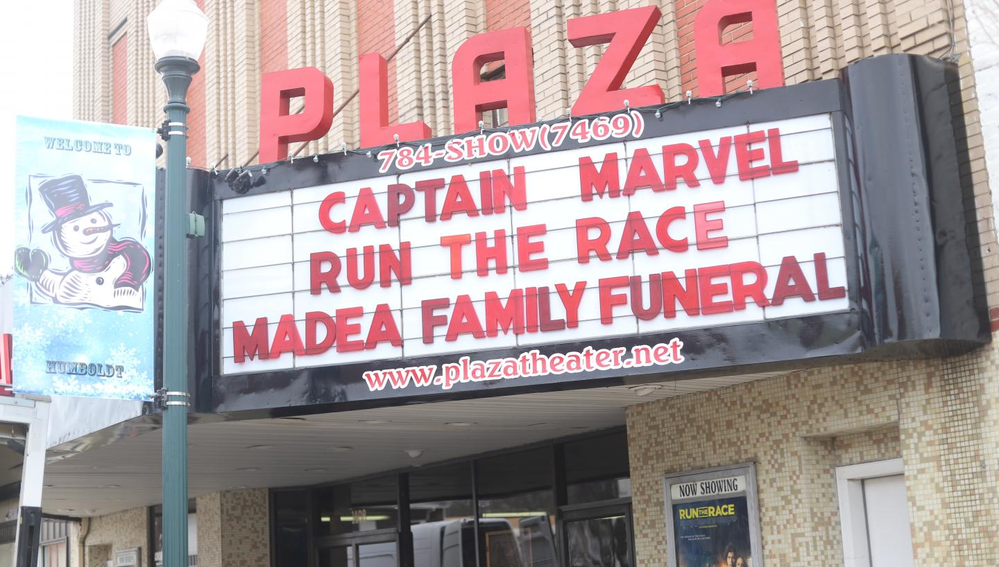 The marquee outside The Plaza Theater showing Captain Marvel, Run the Race, and Madea Family Funeral