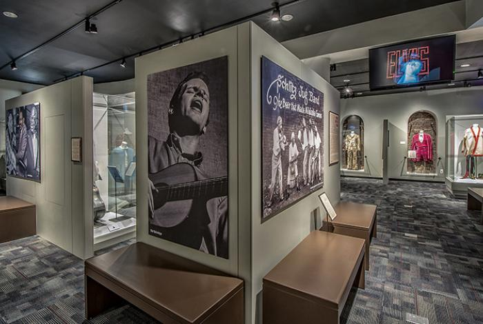 Exhibits inside Memphis Music Hall of Fame in Memphis