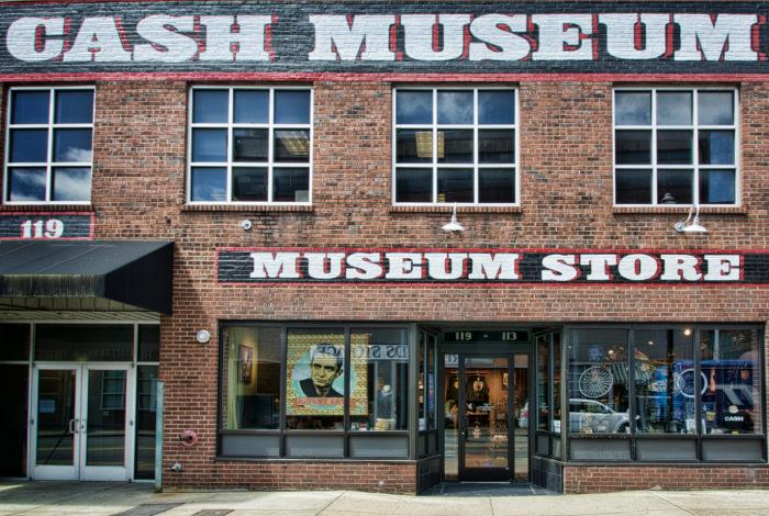 The front of the Johnny Cash museum in Nashville Tennessee