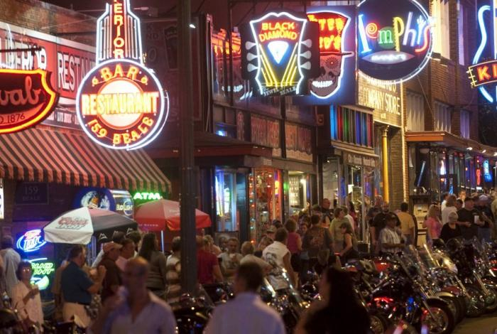 A crowd of people on Beale Street in Memphis
