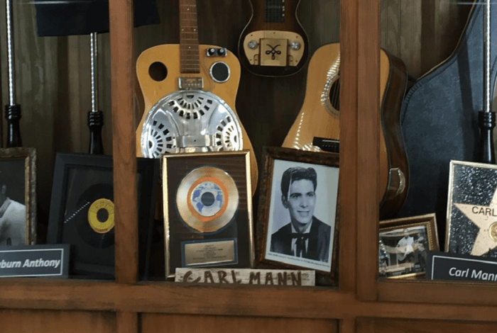 A display case of Elvis memorabilia