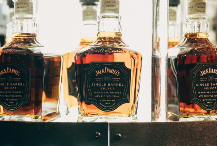 Bottles of Jack Daniel's whiskey on display