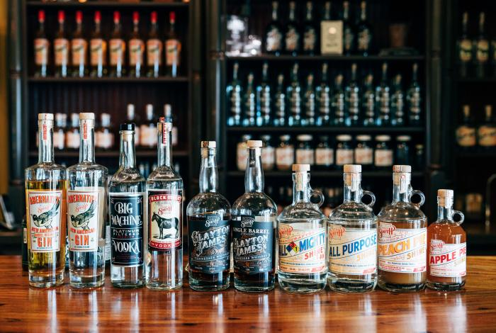 A variety of spirits from Tenn South Distillery