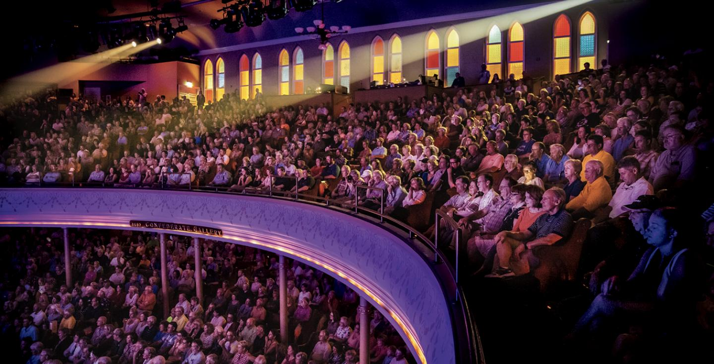 The Ryman Auditorium during  a concert in Nashville Tennessee