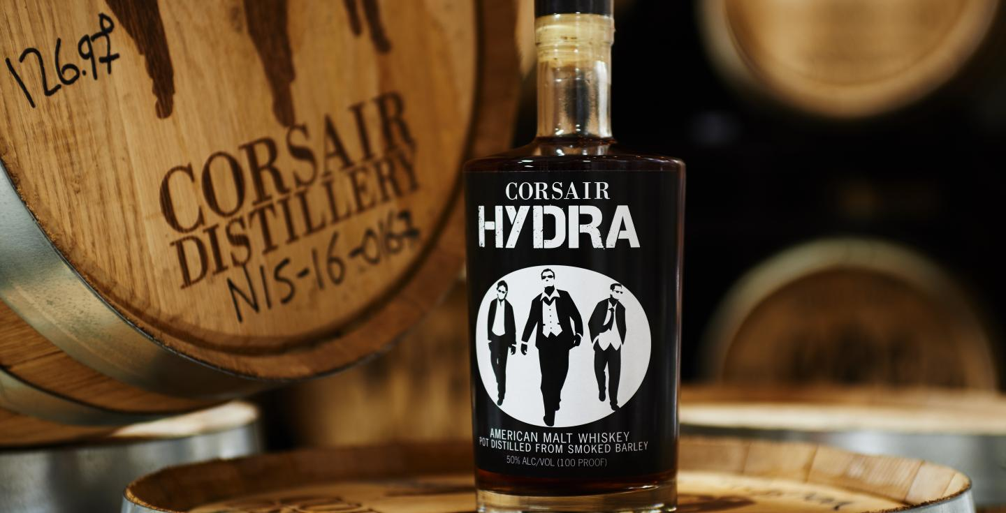 Corsair's Hydra on top of a barrel at Corsair in Nashville, Tennessee