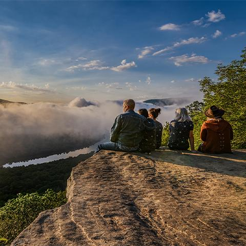 A family takes in the scenery at Sunset Rock in Chattanooga TN