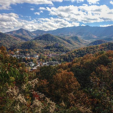 Gatlinburg surrounded by the Great Smoky Mountains in TN.