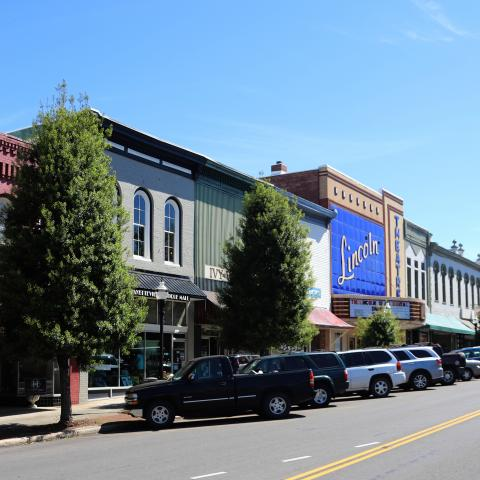 Downtown Fayetteville with Lincoln Theater in the distance