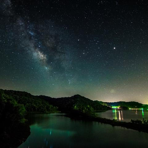 Milky Way over Center Hill Lake in Edgar Evins State Park, TN