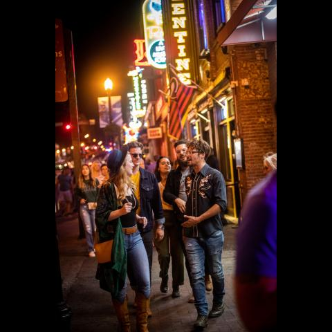 People on Lower Broadway in downtown Nashville TN