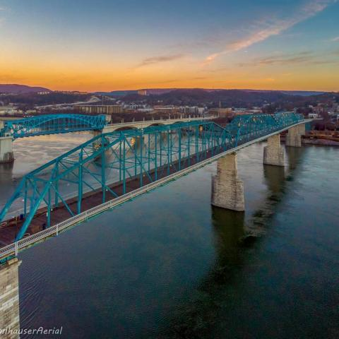 Walnut Street Bridge at sunset in Chattanooga, TN