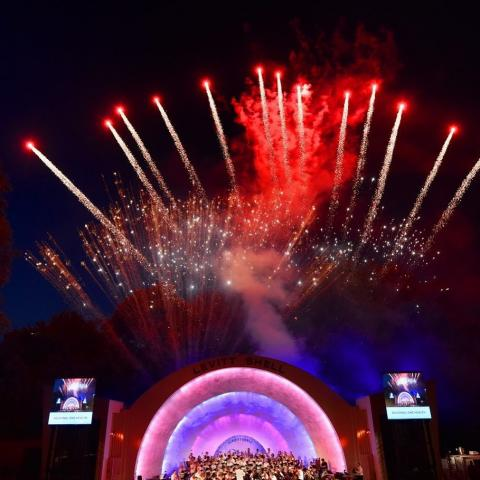 Patriotic concert at Levitt Shell with fireworks finale