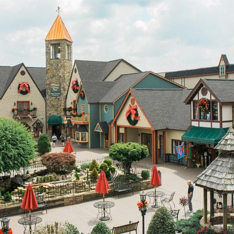 The Incredible Christmas Place courtyard, bell tower, shops
