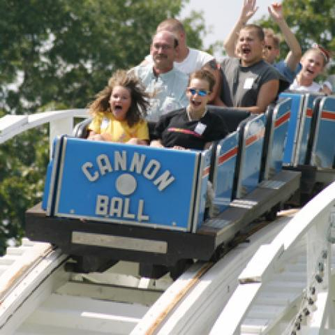 Thrill aboard the famous Cannon Ball Roller Coaster only at Lake Winnie