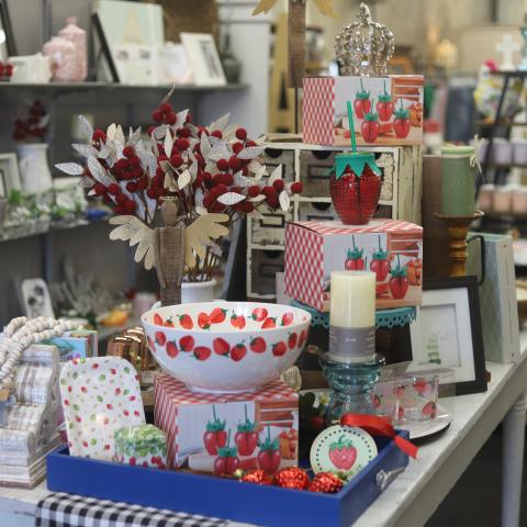 Strawberry-themed gifts at City Gift Company in Humboldt, Tennessee