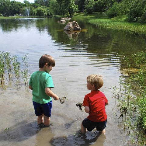 Kids playing in one of our ponds