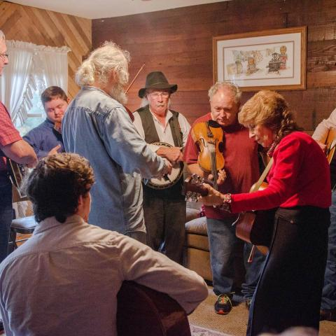 A group of musicians plays Old Time music at the homeplace of Fiddlin' Fred Price