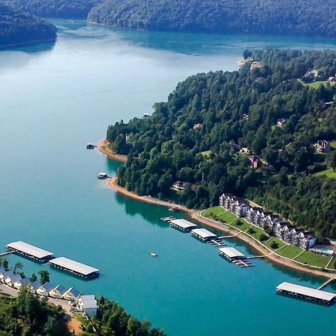 Aerial view of Norris Lake shoreline with condos.