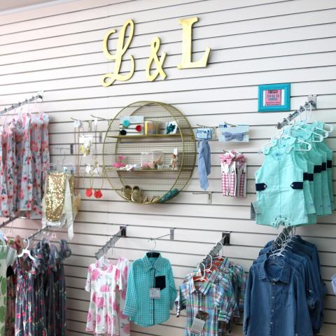Children's clothing on display at Lyla & Lane