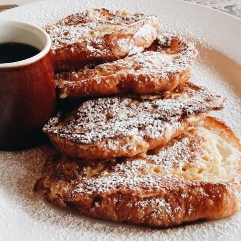 A plate of French Toast with Maple Syrup
