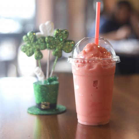 A strawberry smoothie from To The Last Drop Coffee Shop