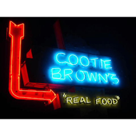 cootie browns johnson city neon sign