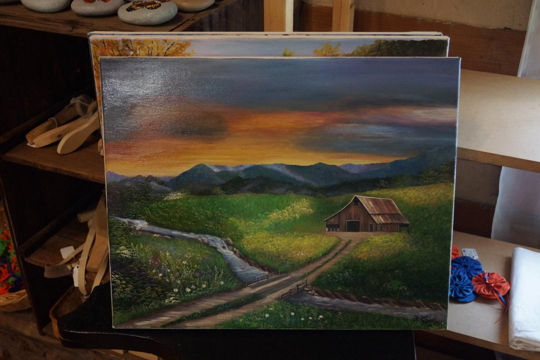 mountain farm painting