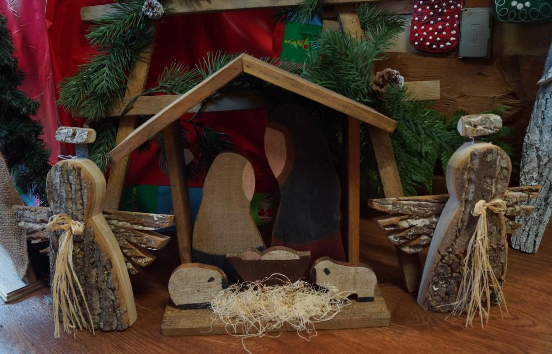 nativity &  wooden angels