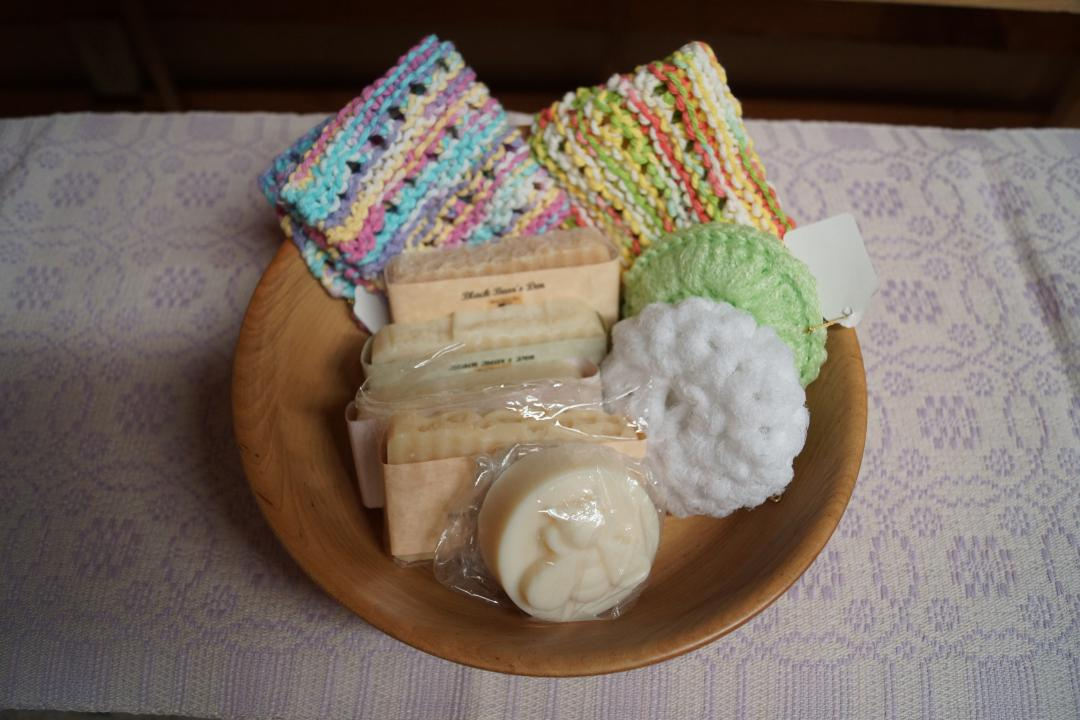 handmade soaps with washclothes and scrubbies