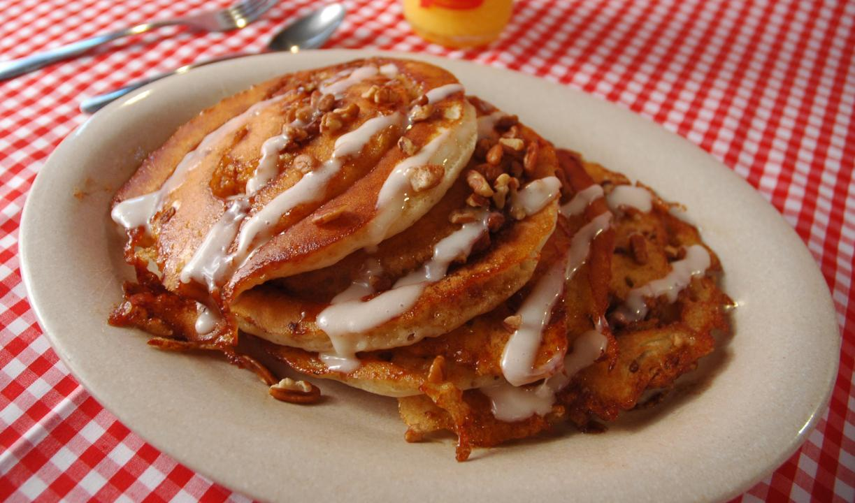 Flapjack's Pancake Cabin is famous for their Sticky Bun Pancakes!