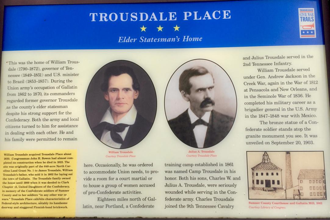 Tennessee Civil War Trail marker for Trousdale Place.