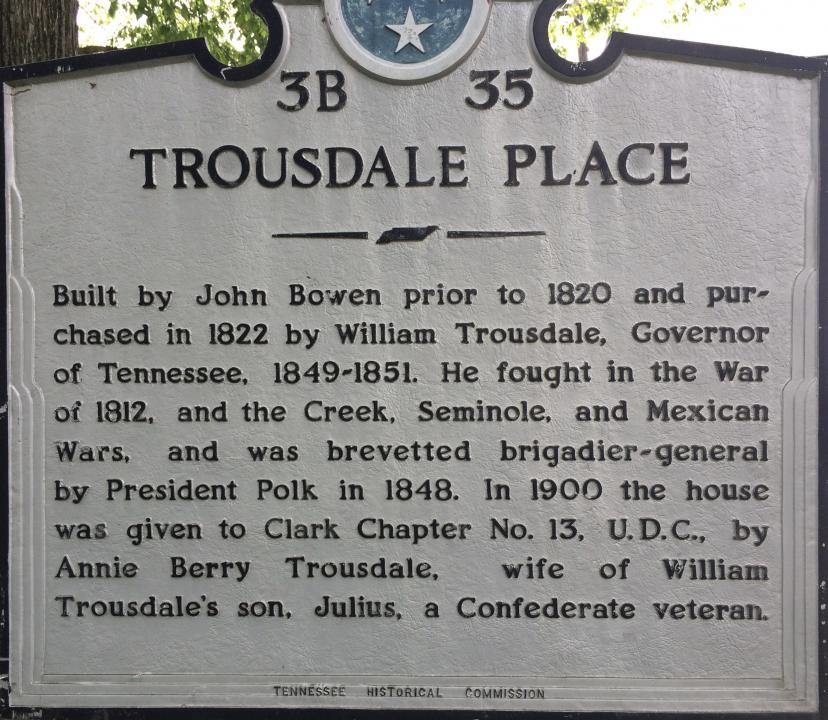 Tennessee Historical Commission sign for Trousdale Place.