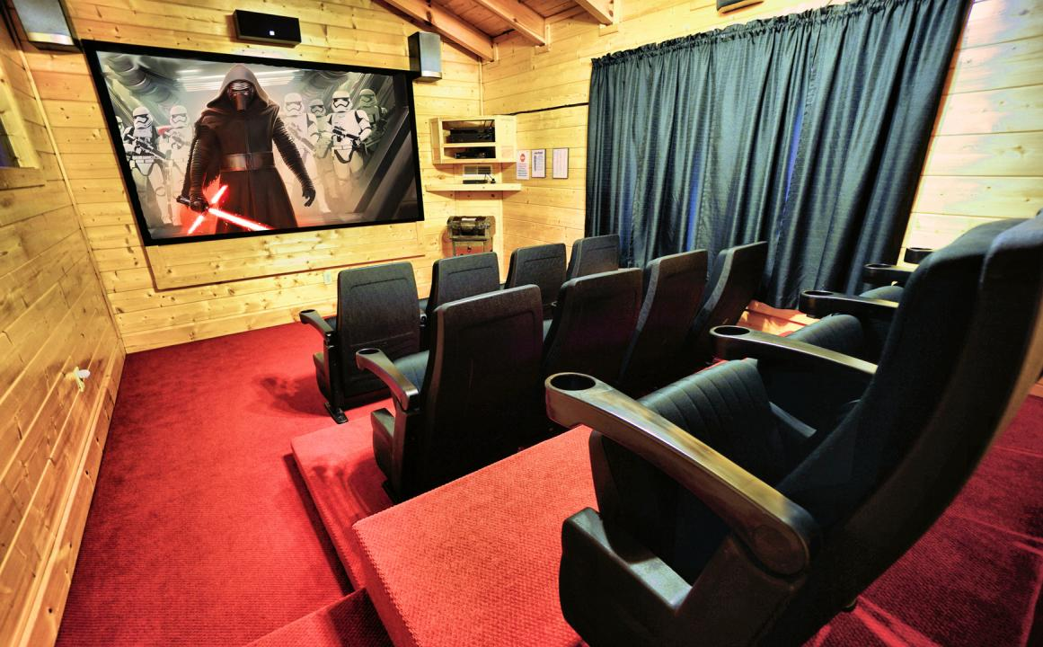 Twelve seat theater room at The Bigfoot Lodge