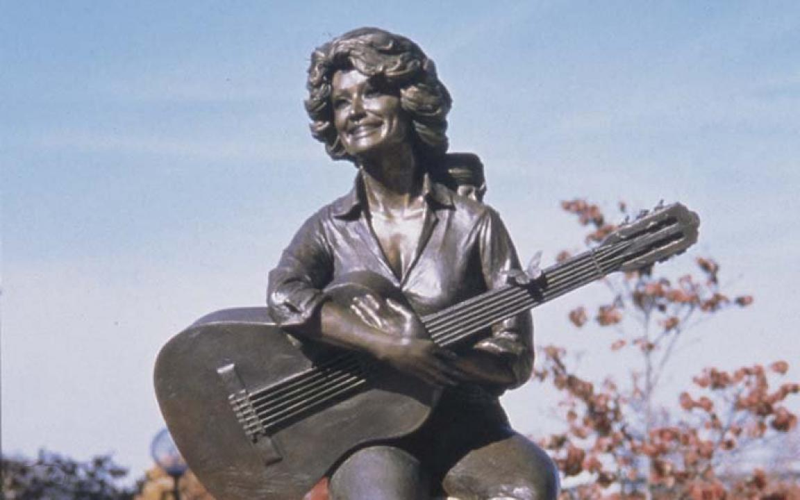 The statue of Dolly Parton sits in the center of historic downtown Sevierville.