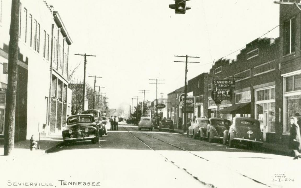 A historic image of Court Avenue in downtown Sevierville.