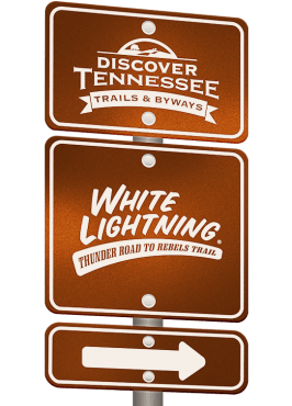 White Lightning Trail sign graphic.